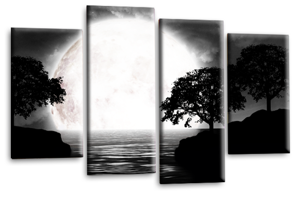 Big moon water reflection canvas wall art picture print